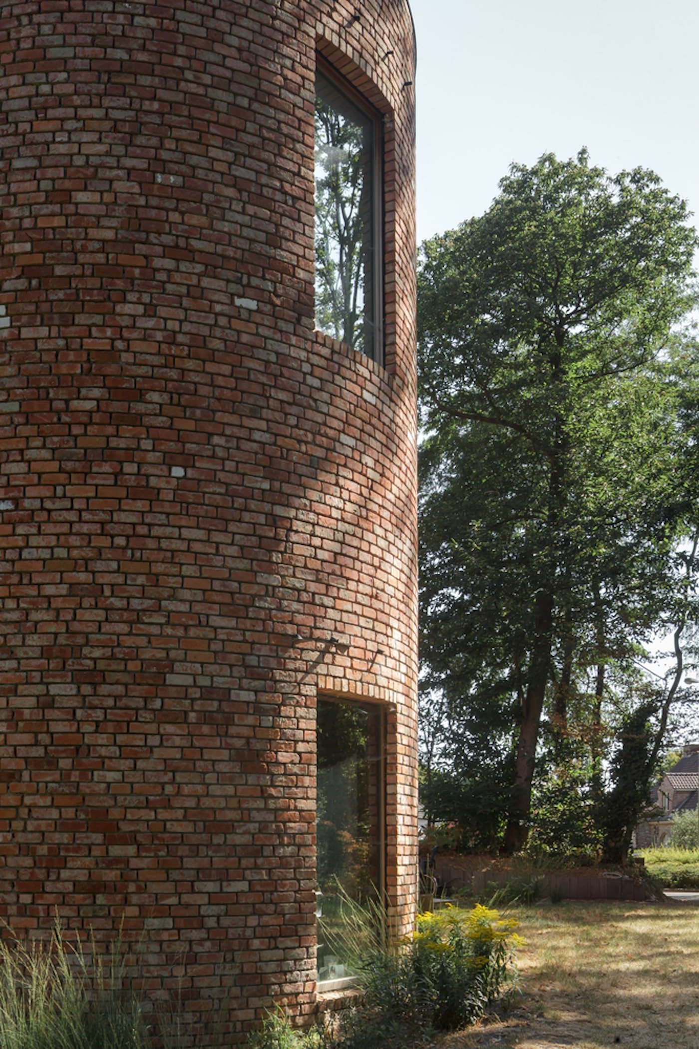 Close up view of recycled brick home