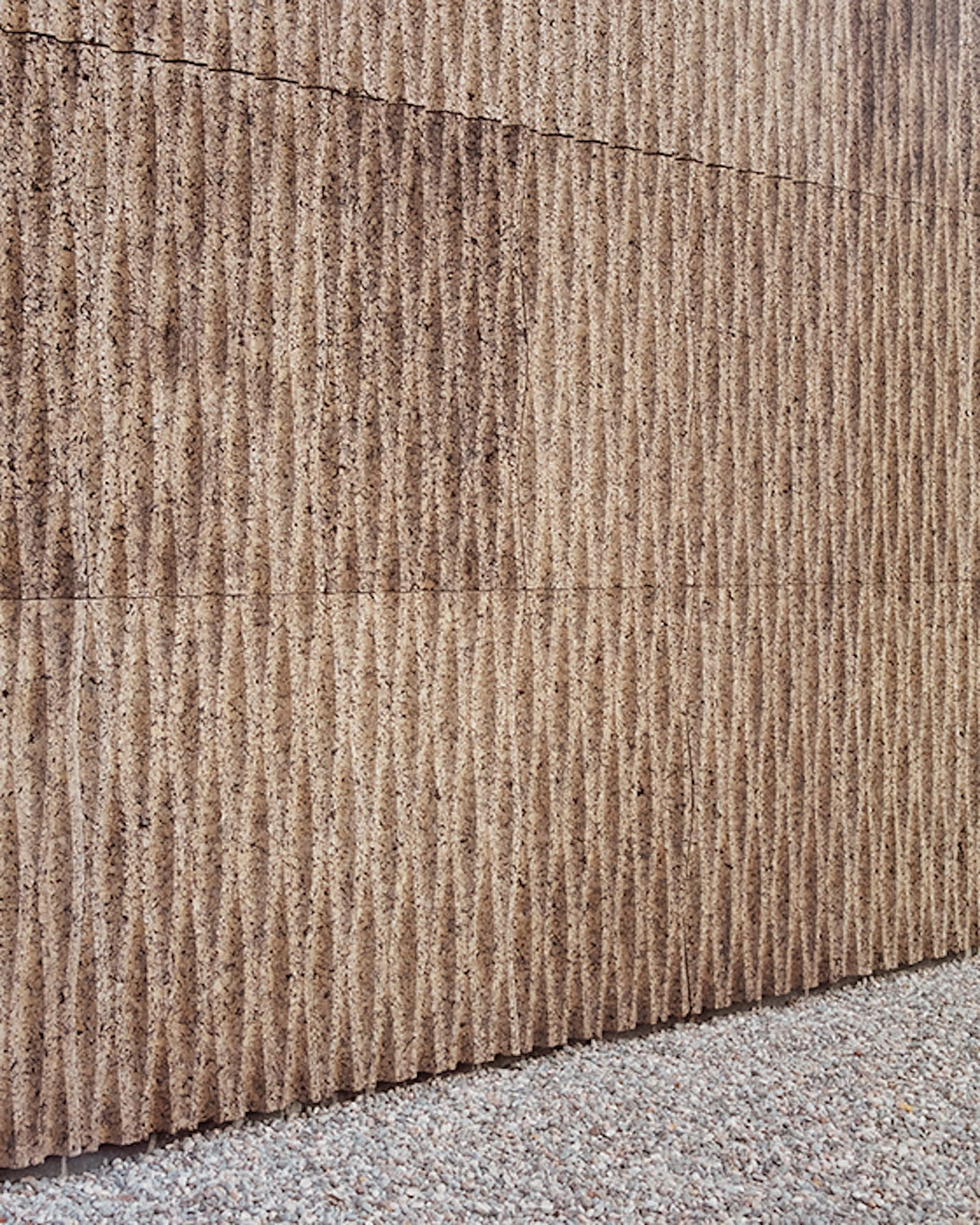 Close up of 3D pressed cork cladding
