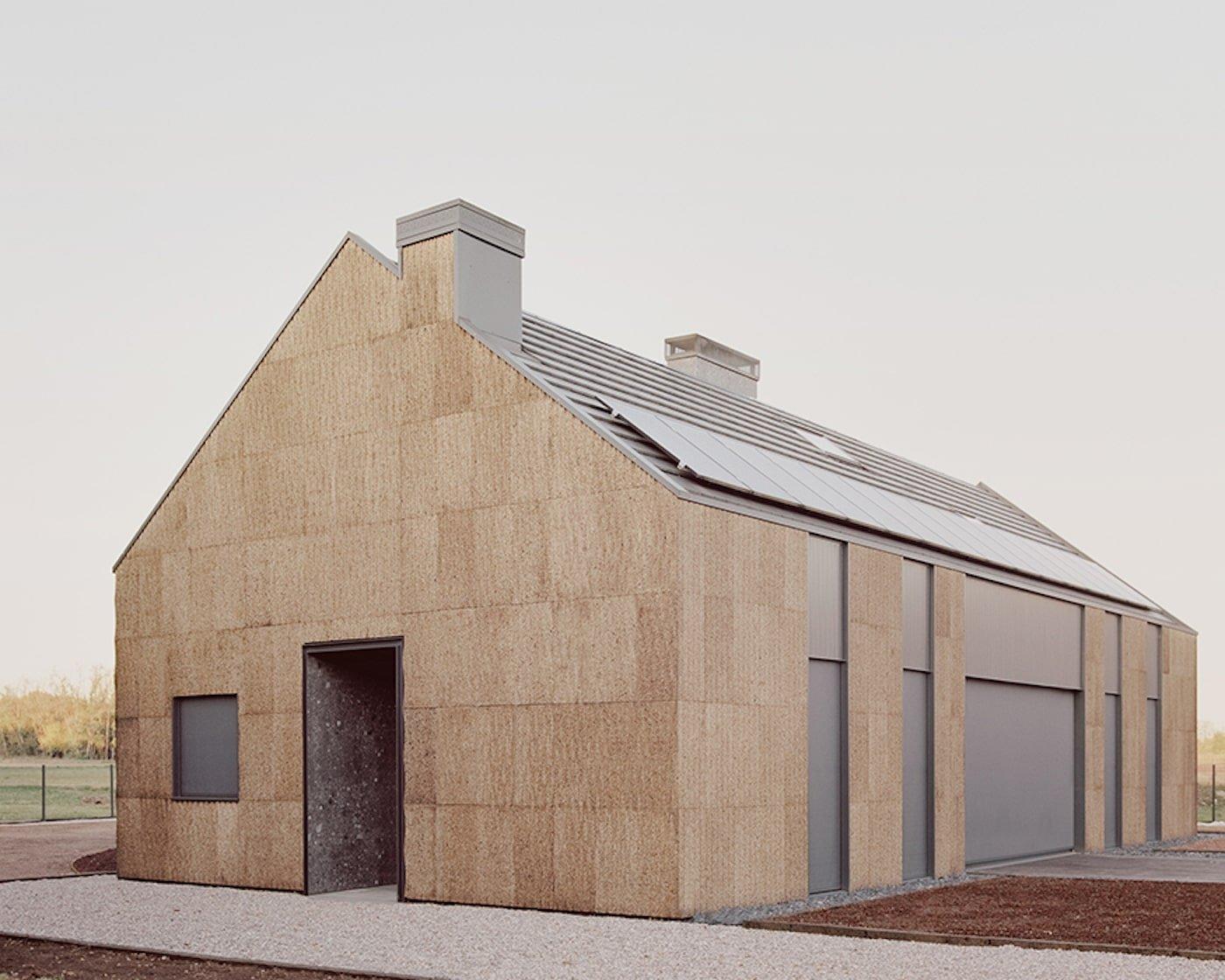 Cork cladding, solar panels on roof