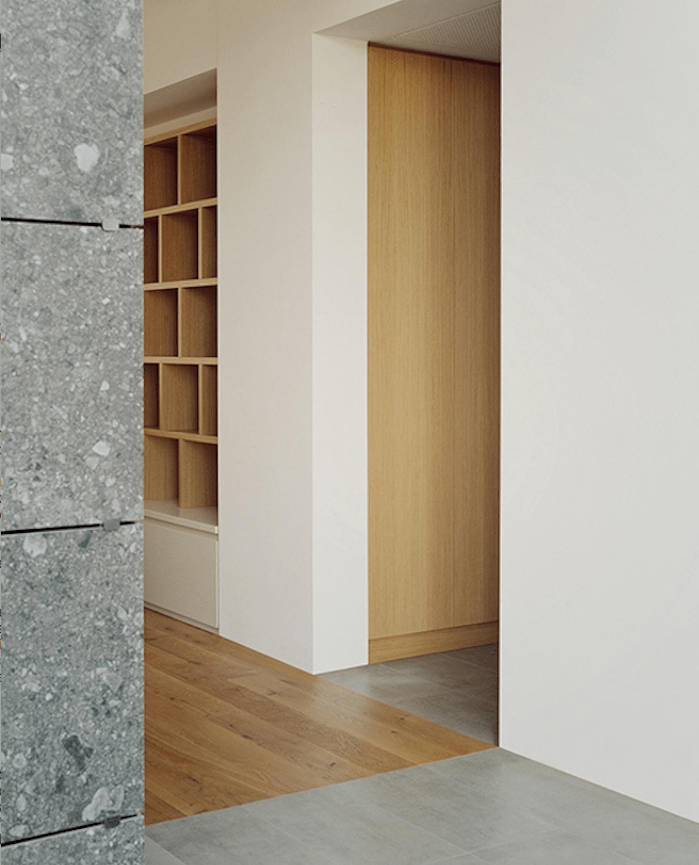 Stone wall cladding timber door