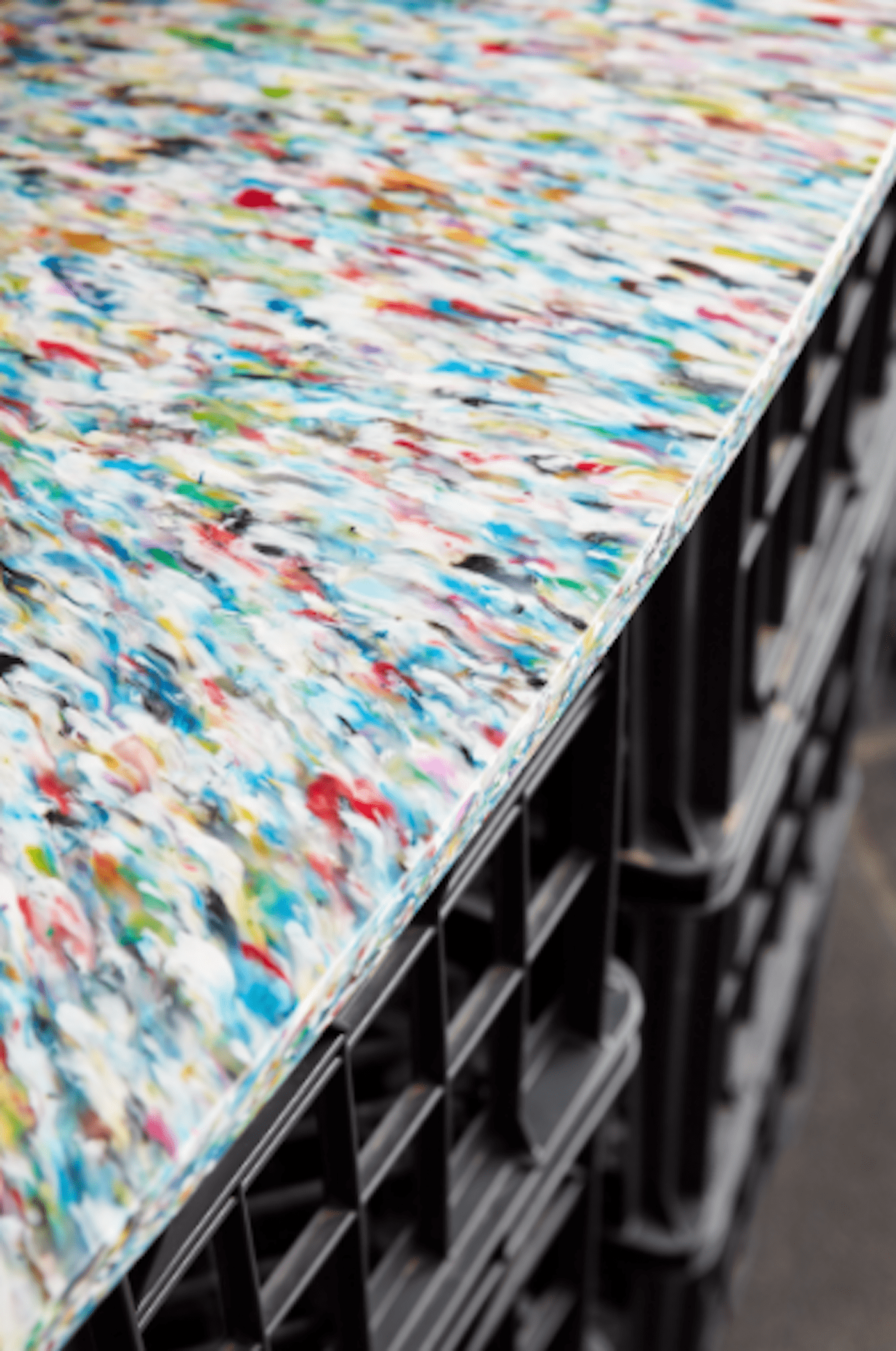 Close up view of recycled plastic counter top