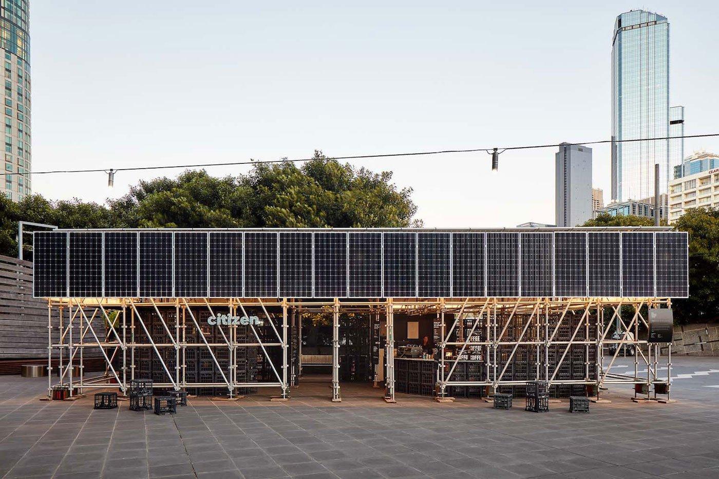 External view of solar panels on facade