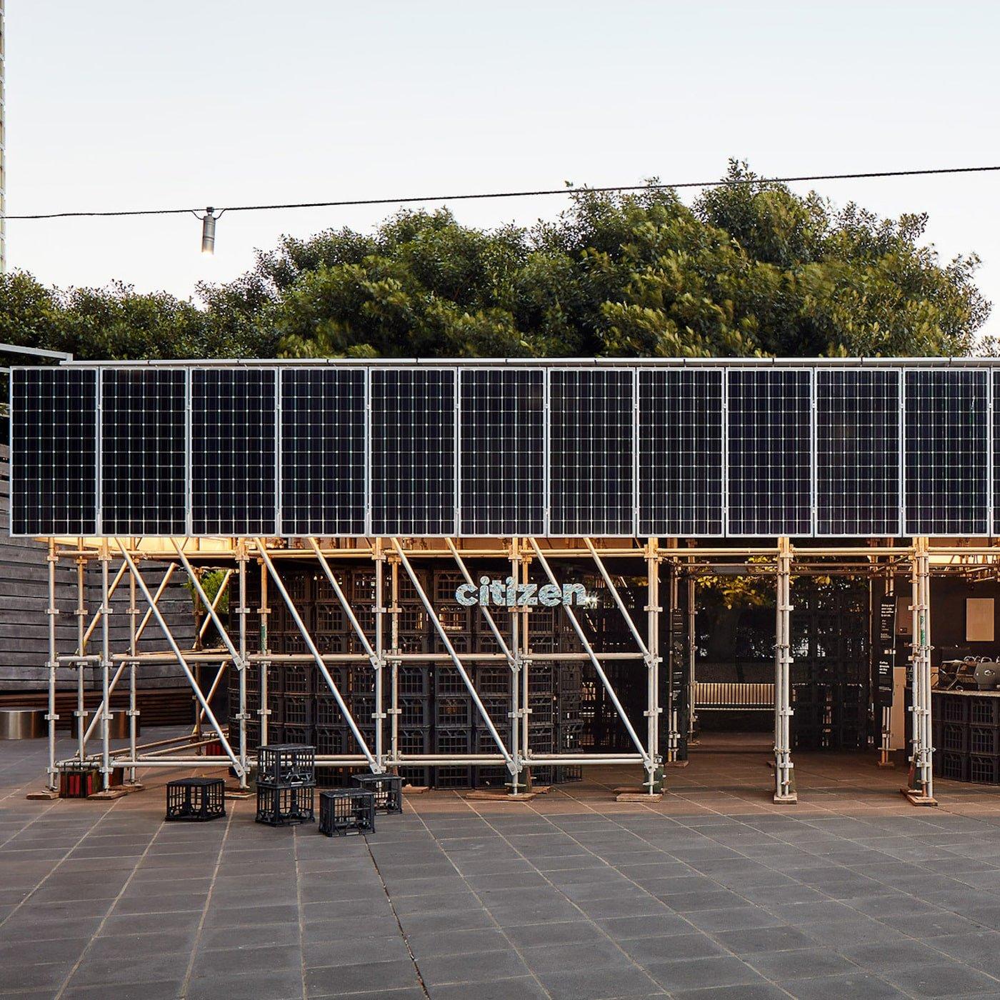 Close up external view of solar panels