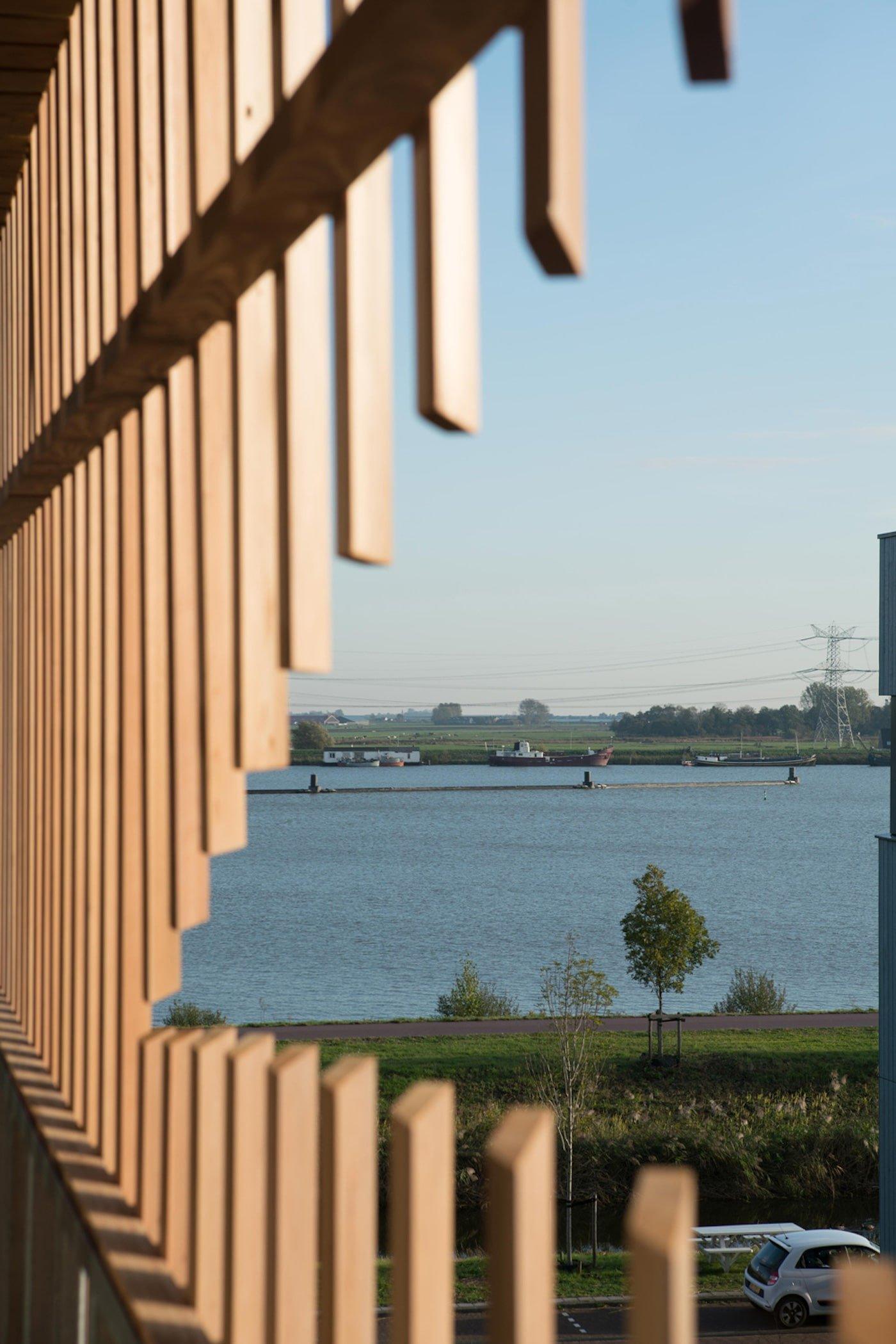 View through timber screen towards harbour