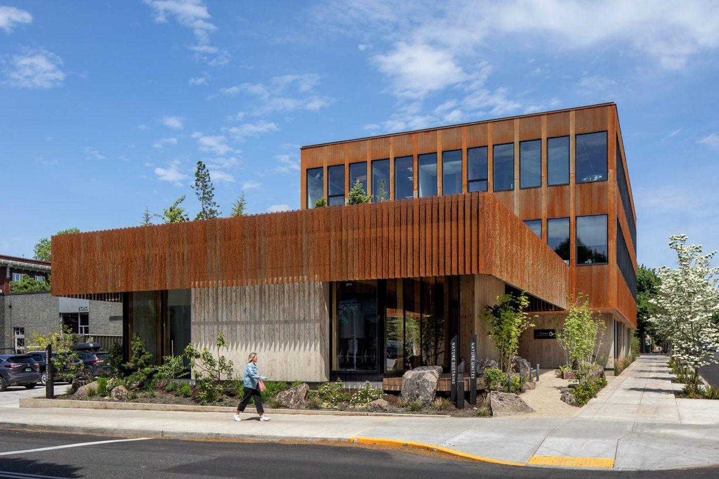 Corten steel and timber facade