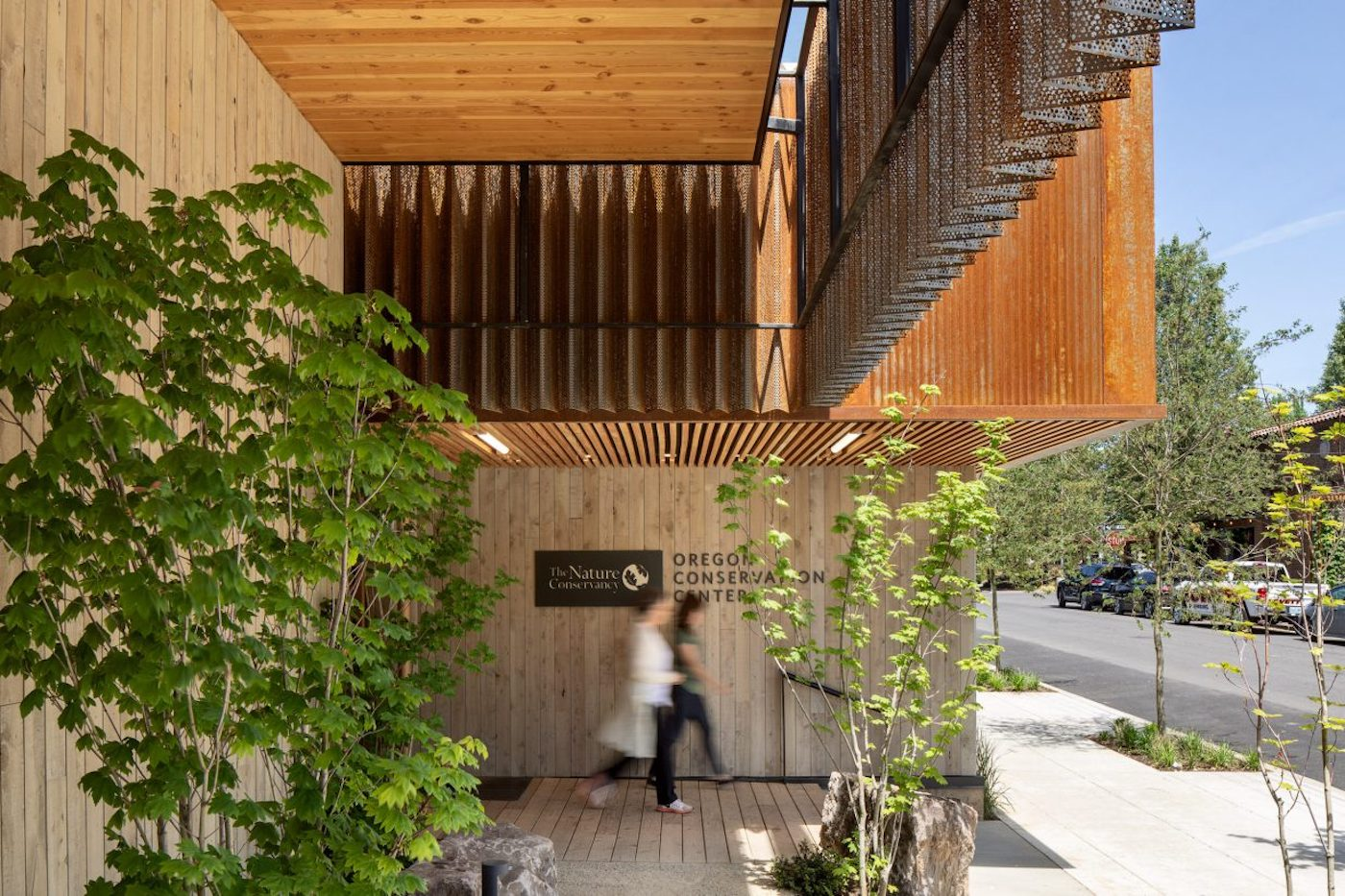 Timber clad entry of Oregon Conservation Centre