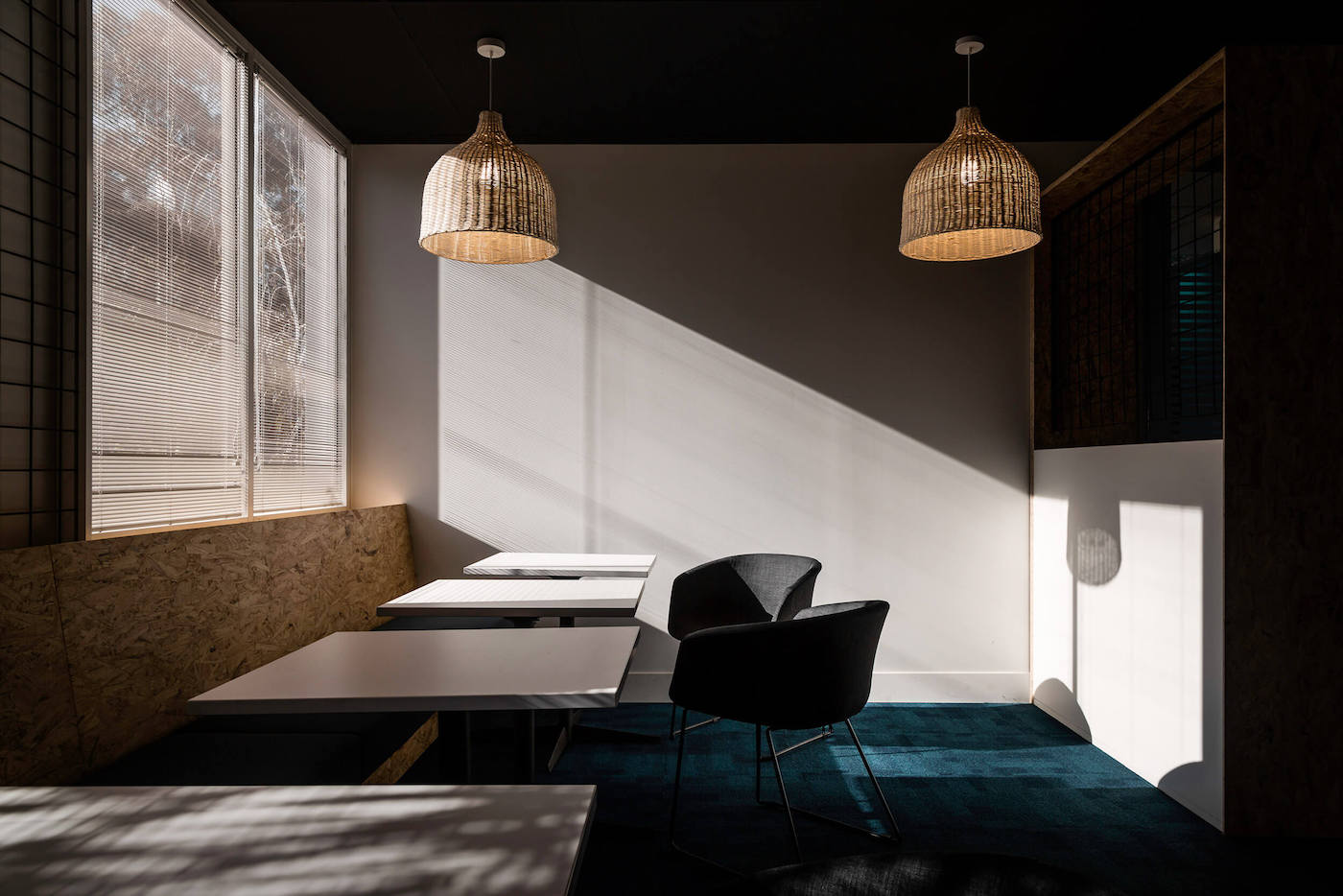 Meeting space with rattan pendants