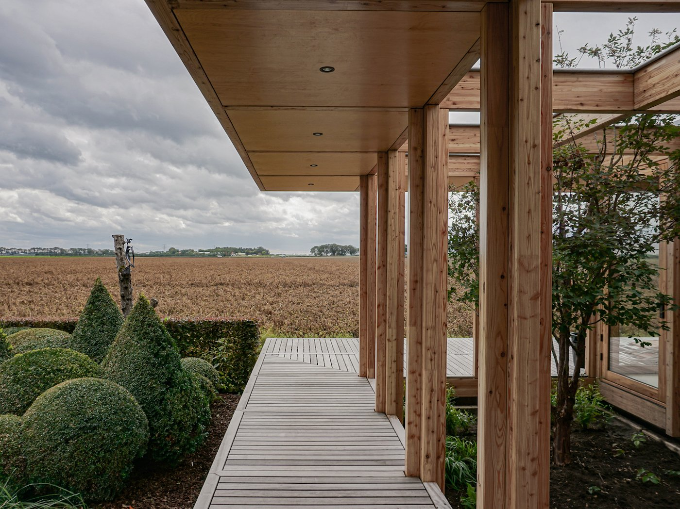 View across timber deck to farmland