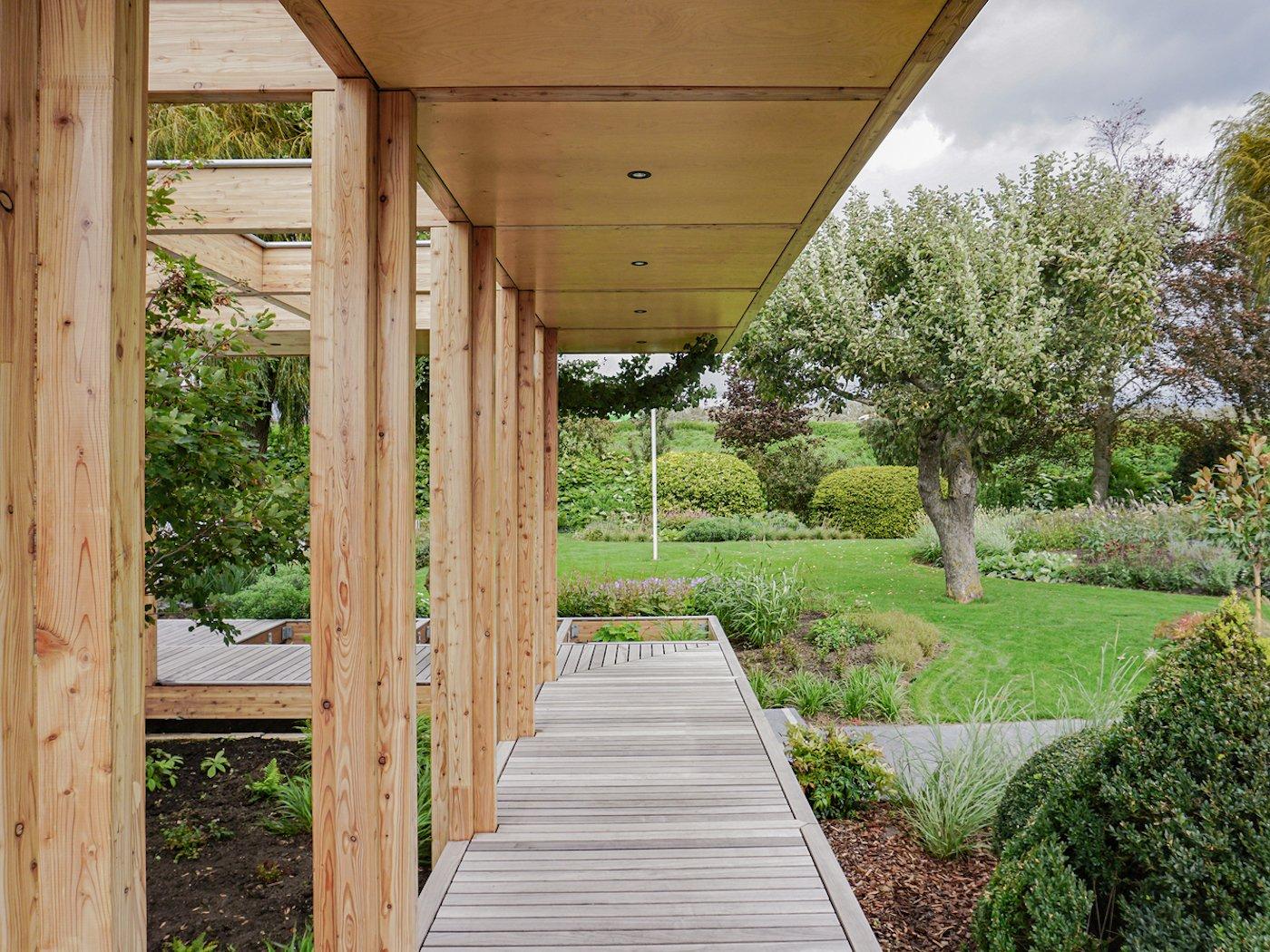 Timber deck and timber awning looking towards garden
