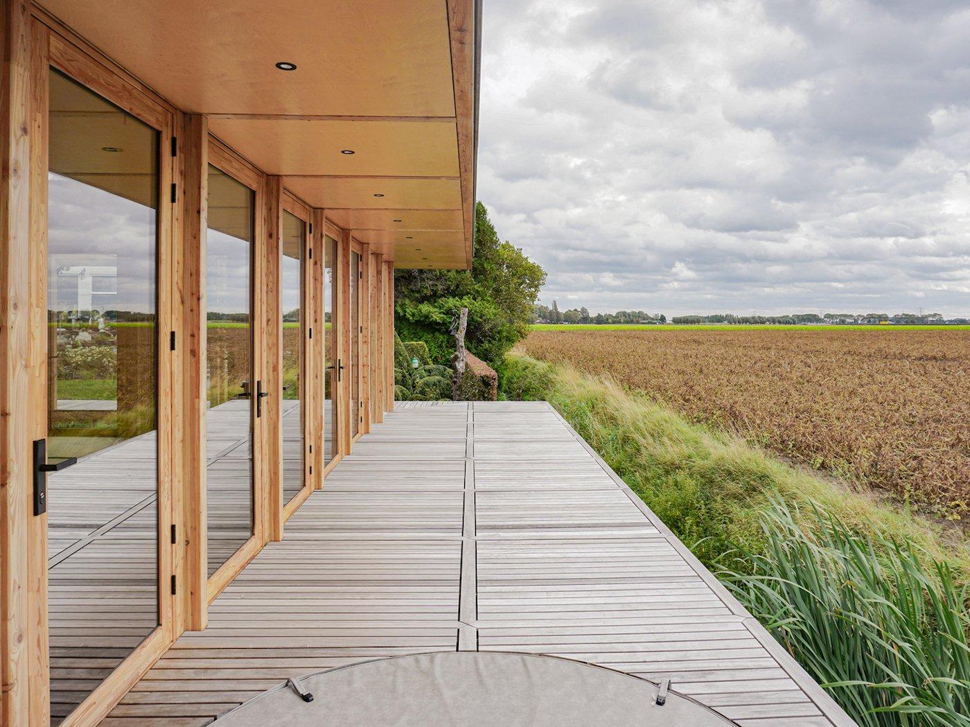 Timber deck with timber awning