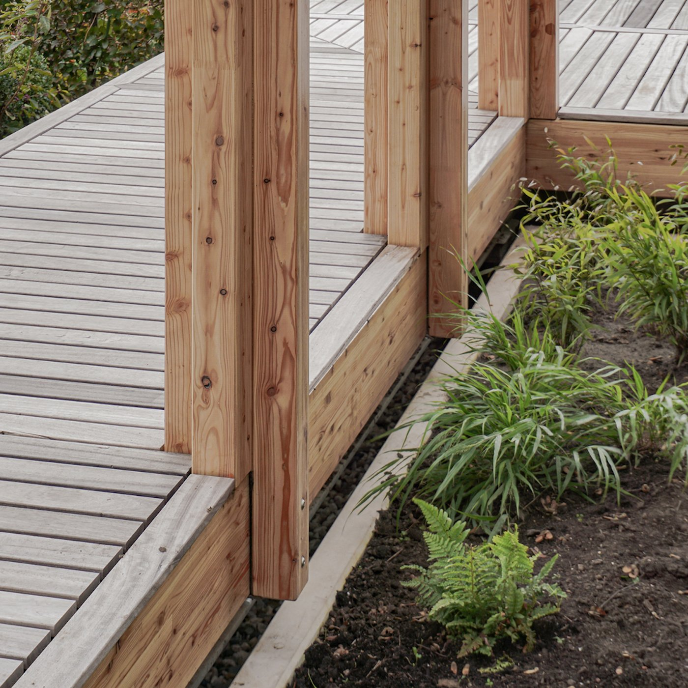 Detail view of timber deck and garden beds