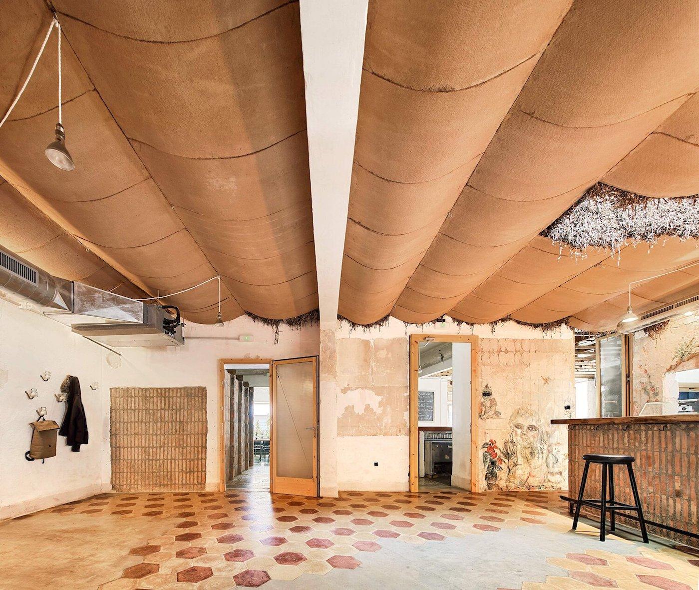 Vaulted ceiling looking towards bathrooms