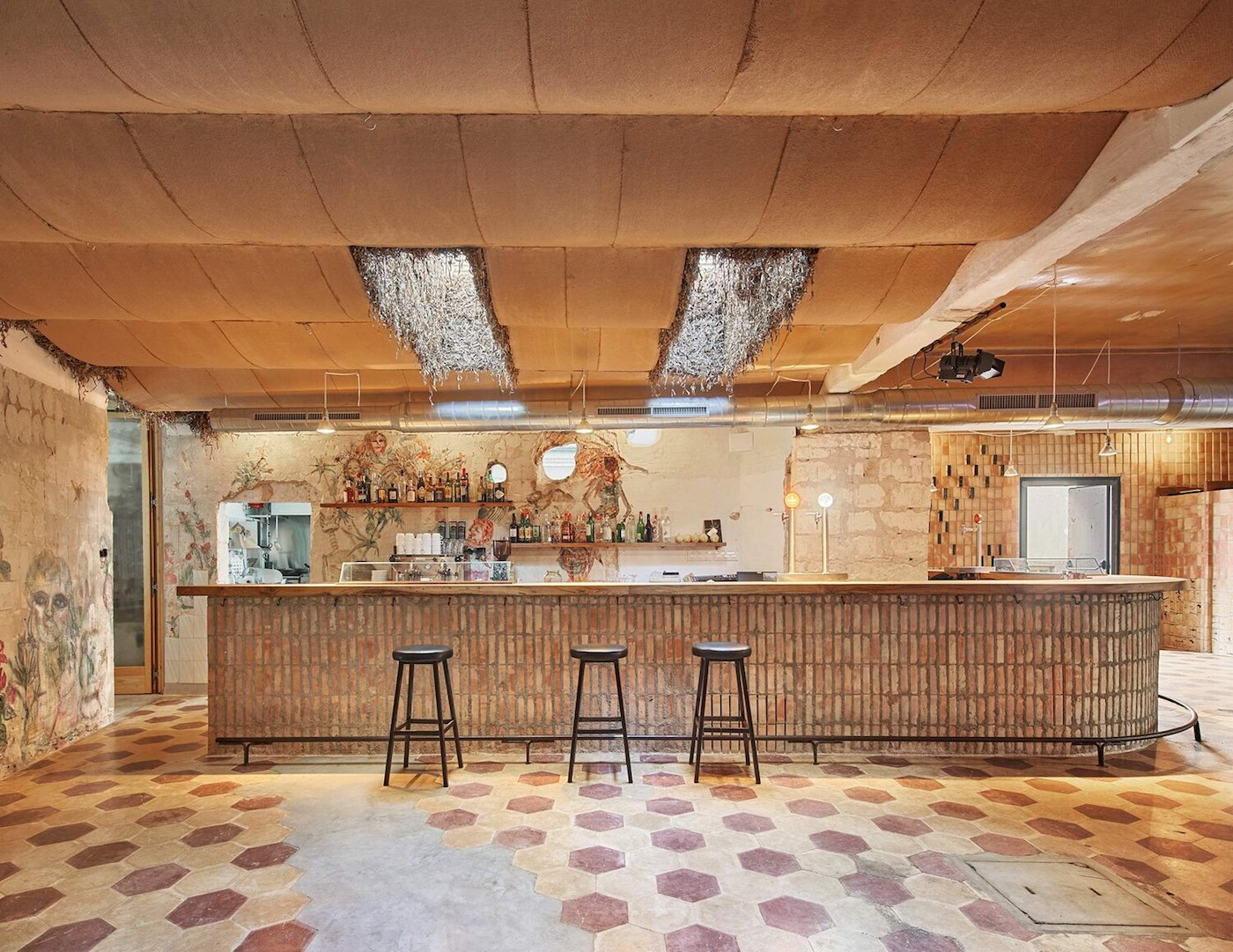 Bar at Can Lliro adaptive reuse project