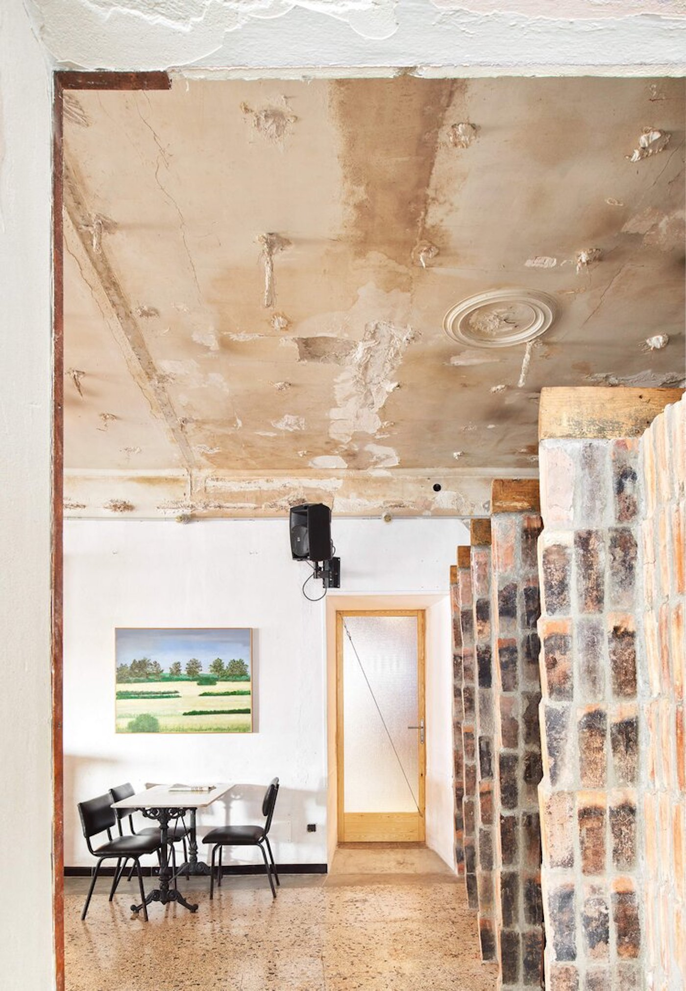 Recycled brick walls in cafe