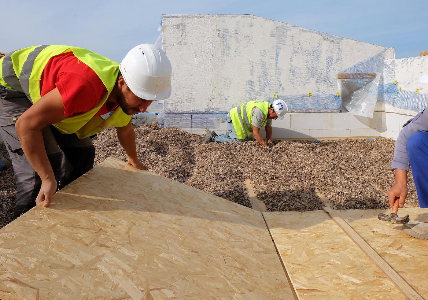 Installation of dried Neptune seagrass roof insulation, installing boards on top