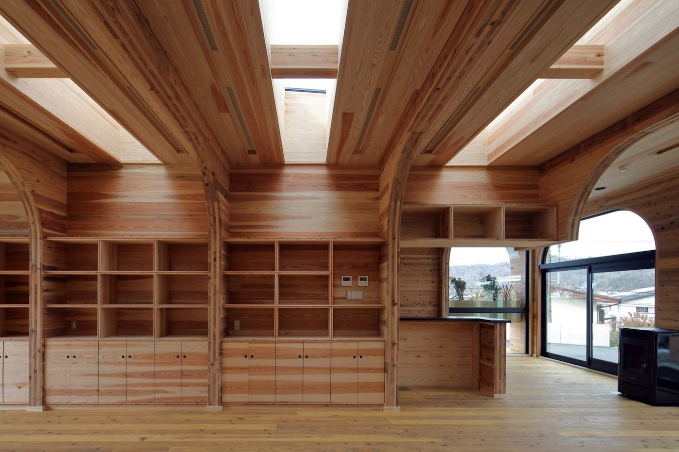 Skylights in timber ceiling