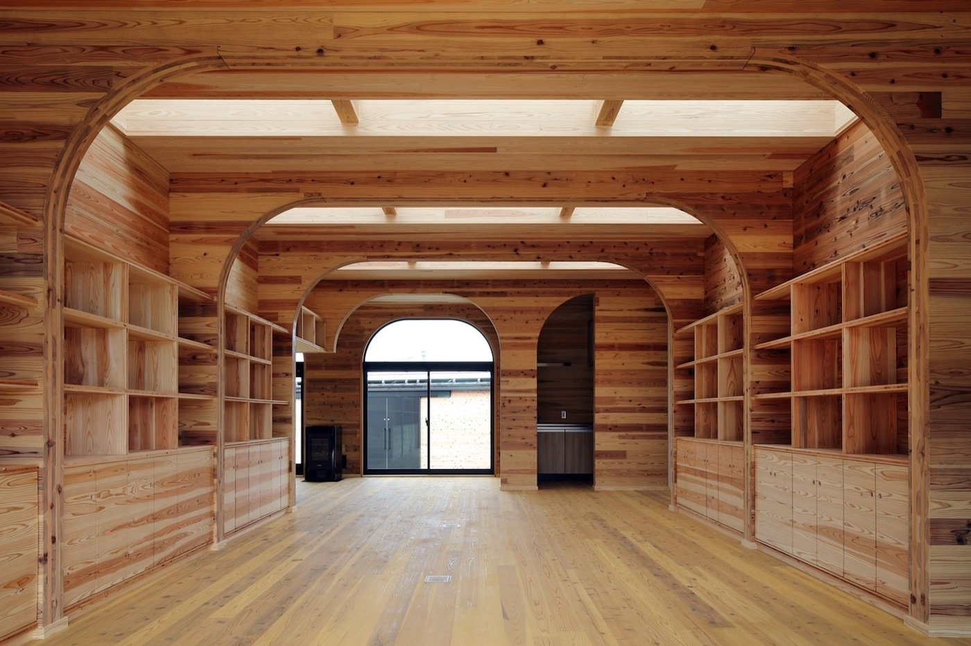 Timber shelving with skylights above