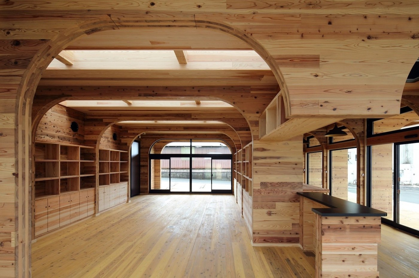 Vaulted ceiling cross laminated timber interior