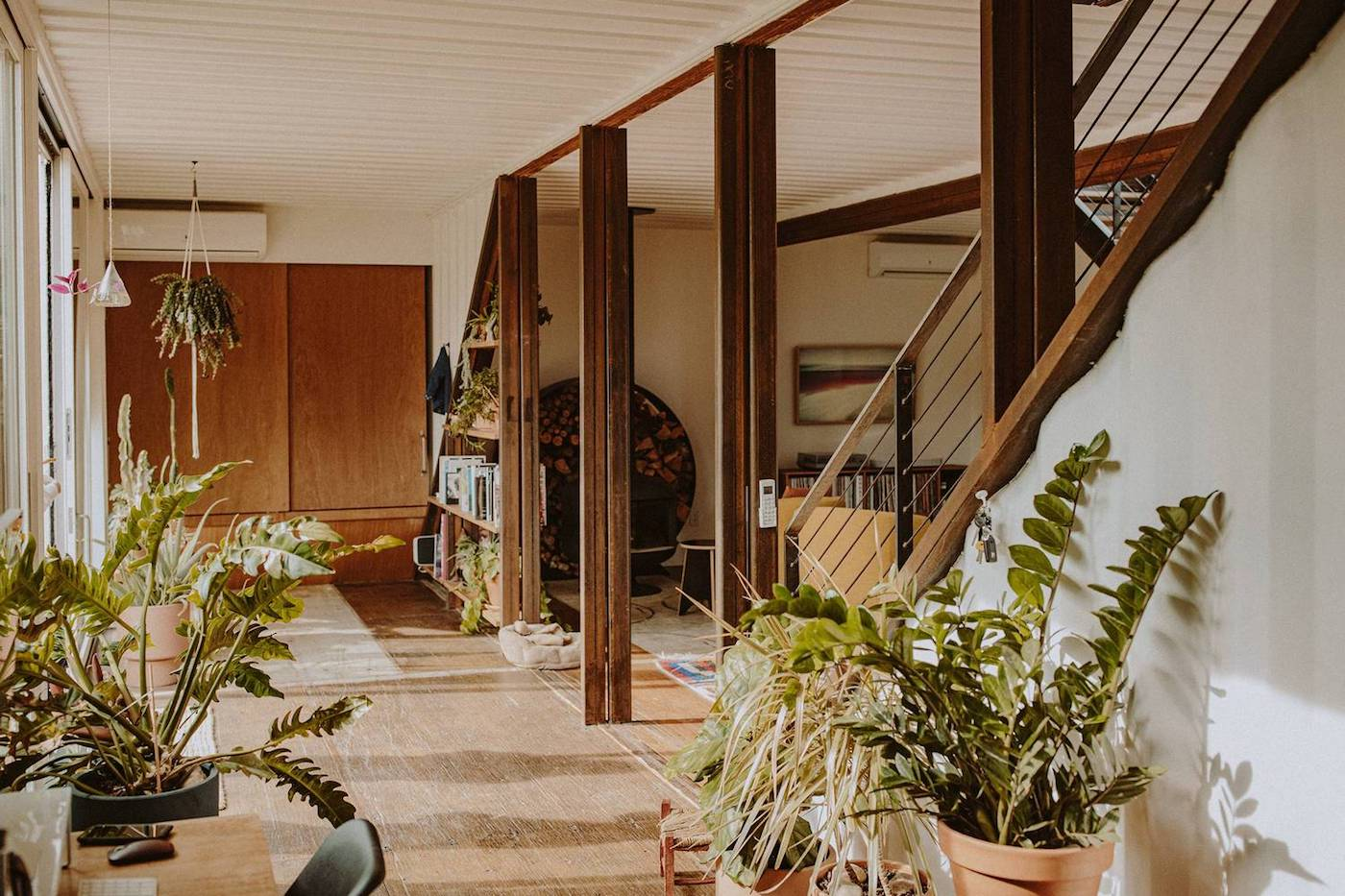 Indoor plants inside shipping container home