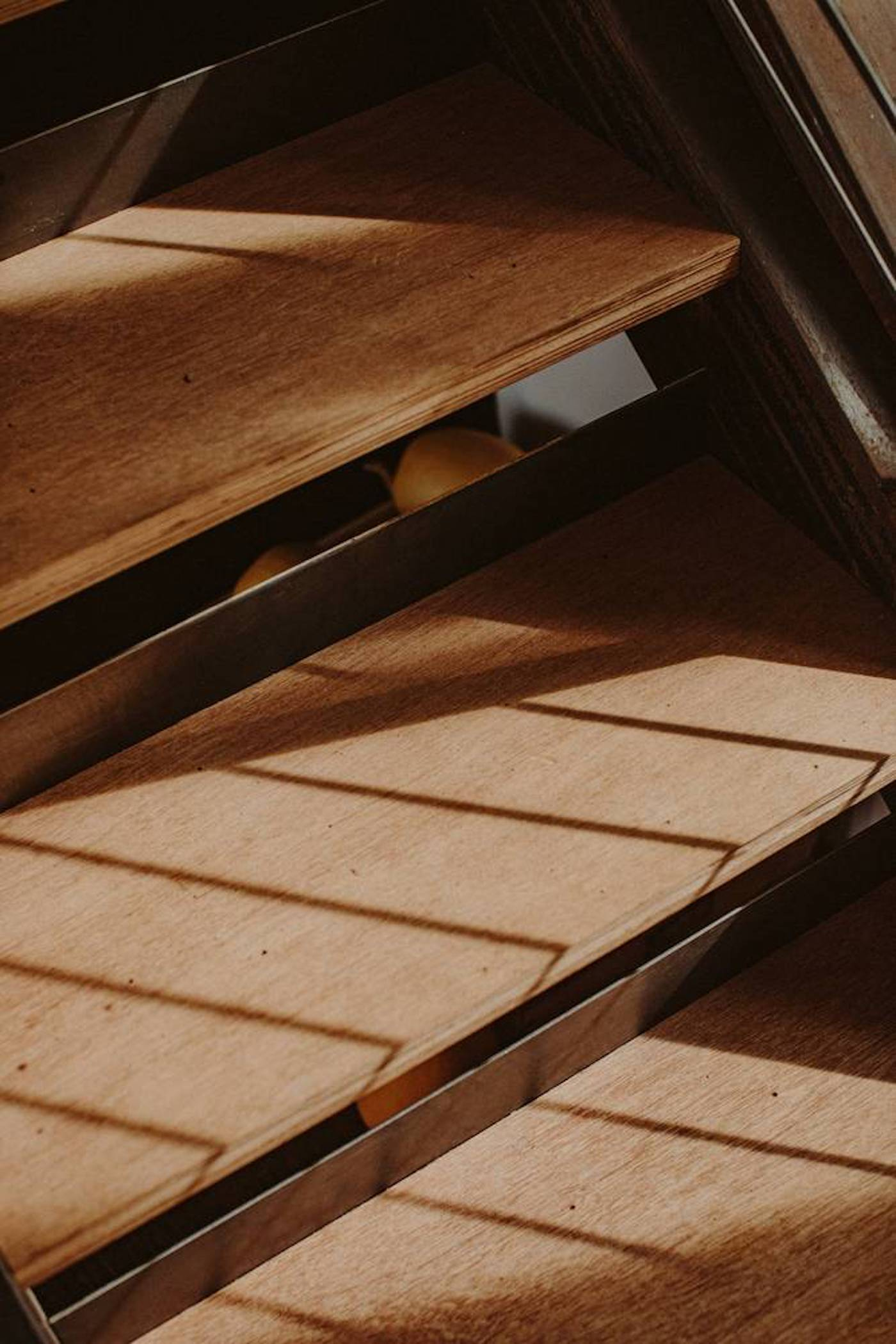 Timber stair treds on corten steel stair case
