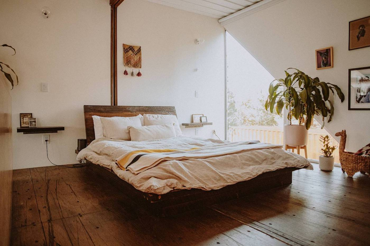 Bedroom with timber flooring