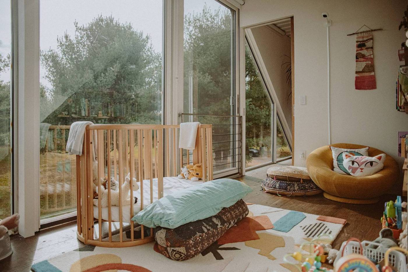 Nursery with recycled timber flooring