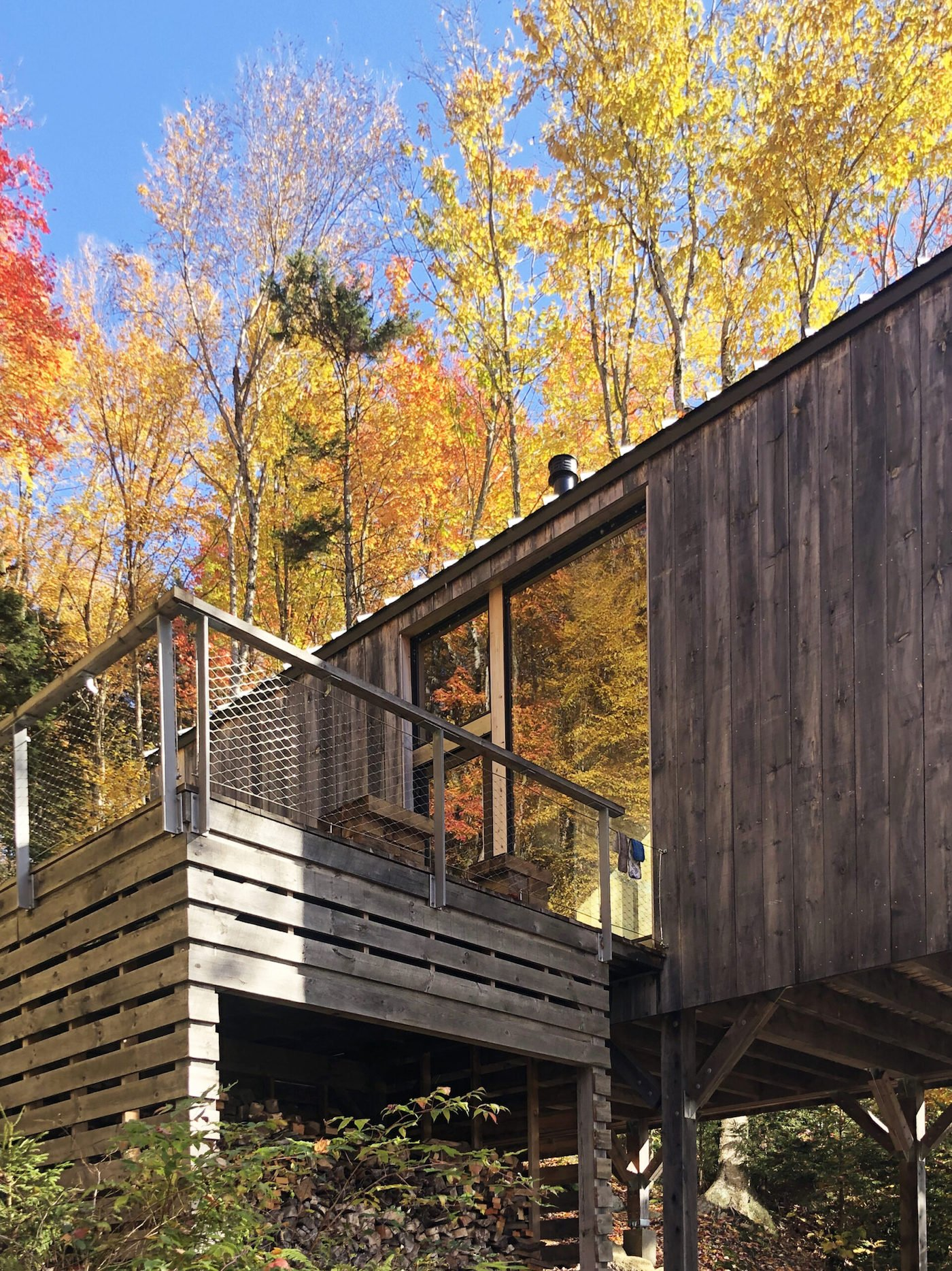Timber deck of off-grid cabin