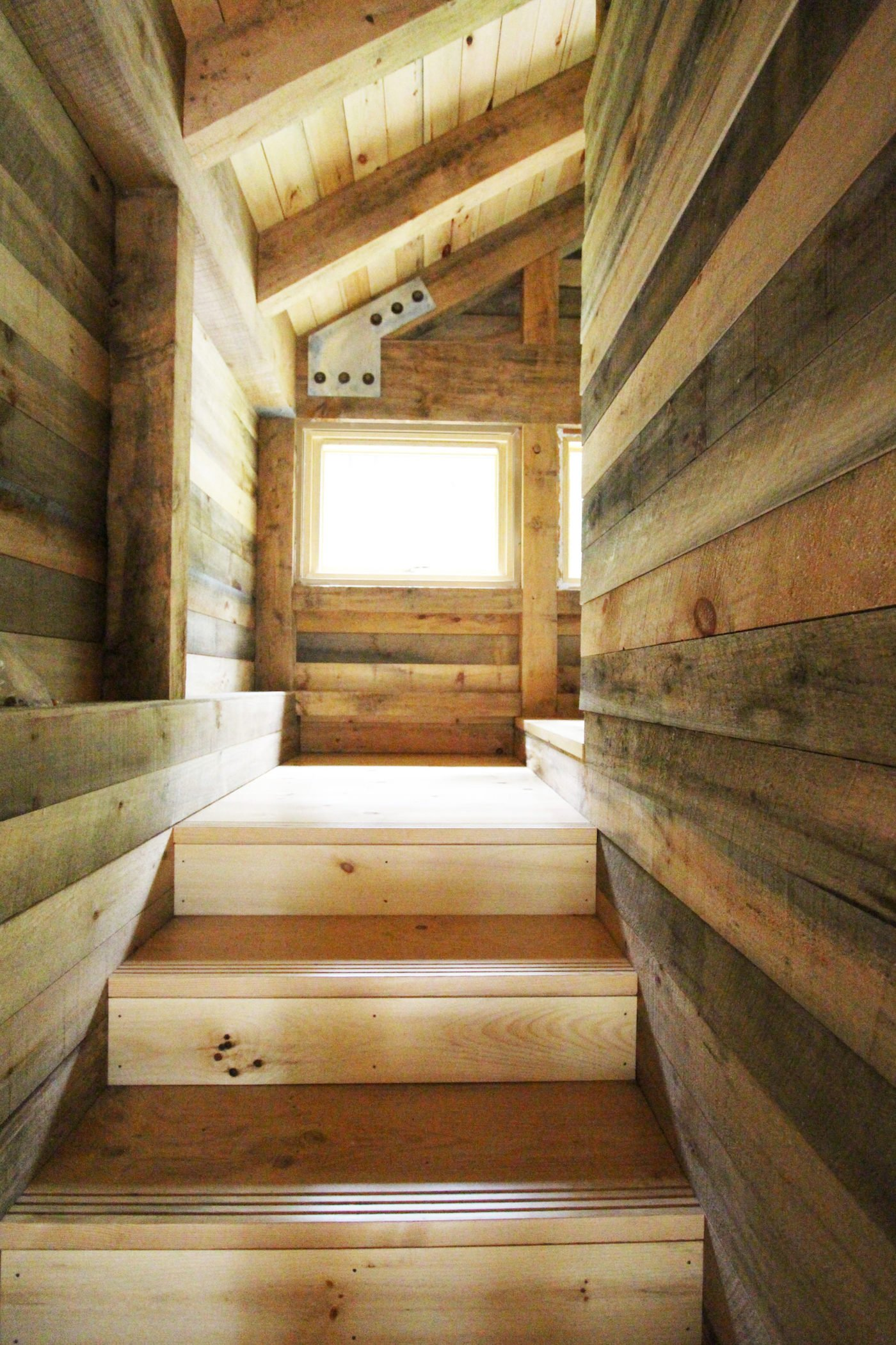 Timber stairs with timber wall lining
