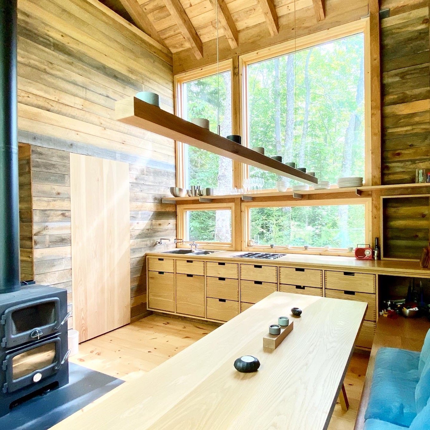 Timber kitchen in timber clad cabin