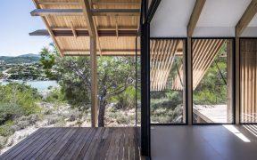 Timber lined balcony