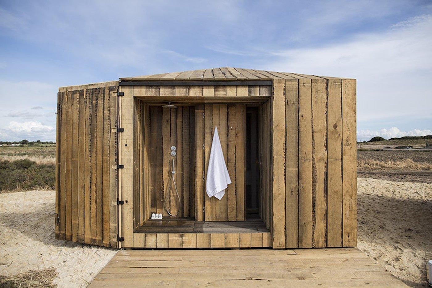 Outdoor bathroom made from recycled timber