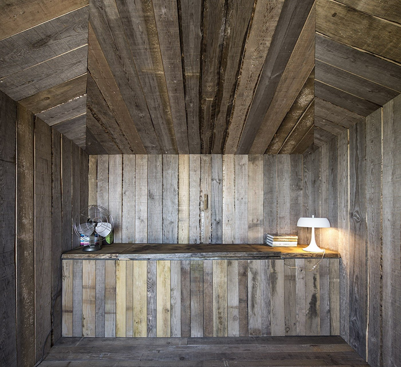 Timber kitchen bench in recycled timber cabins