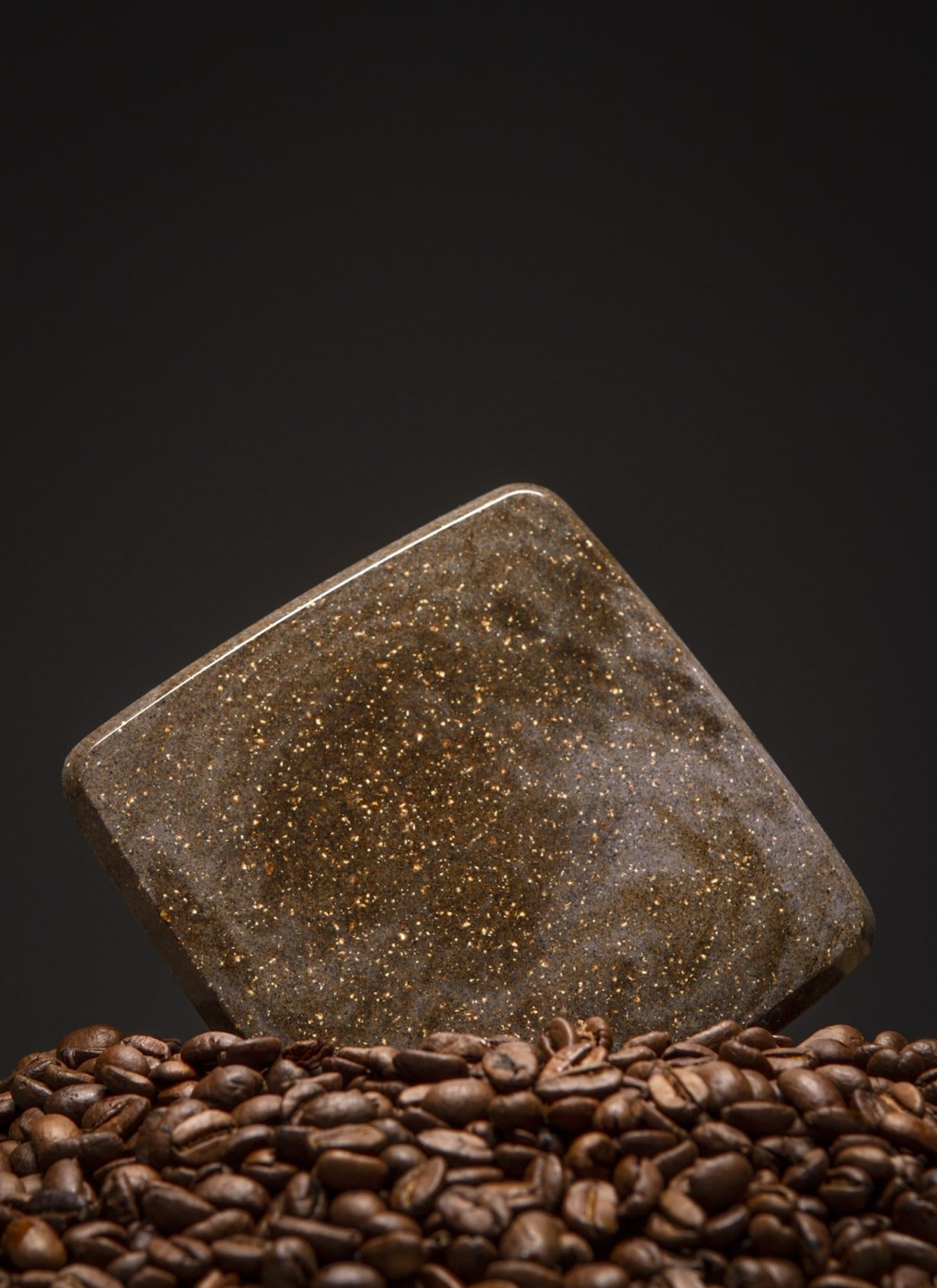 Coaster made from coffee grounds bio based material