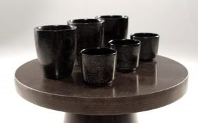Close up of bio-based coffee table and coffee cups