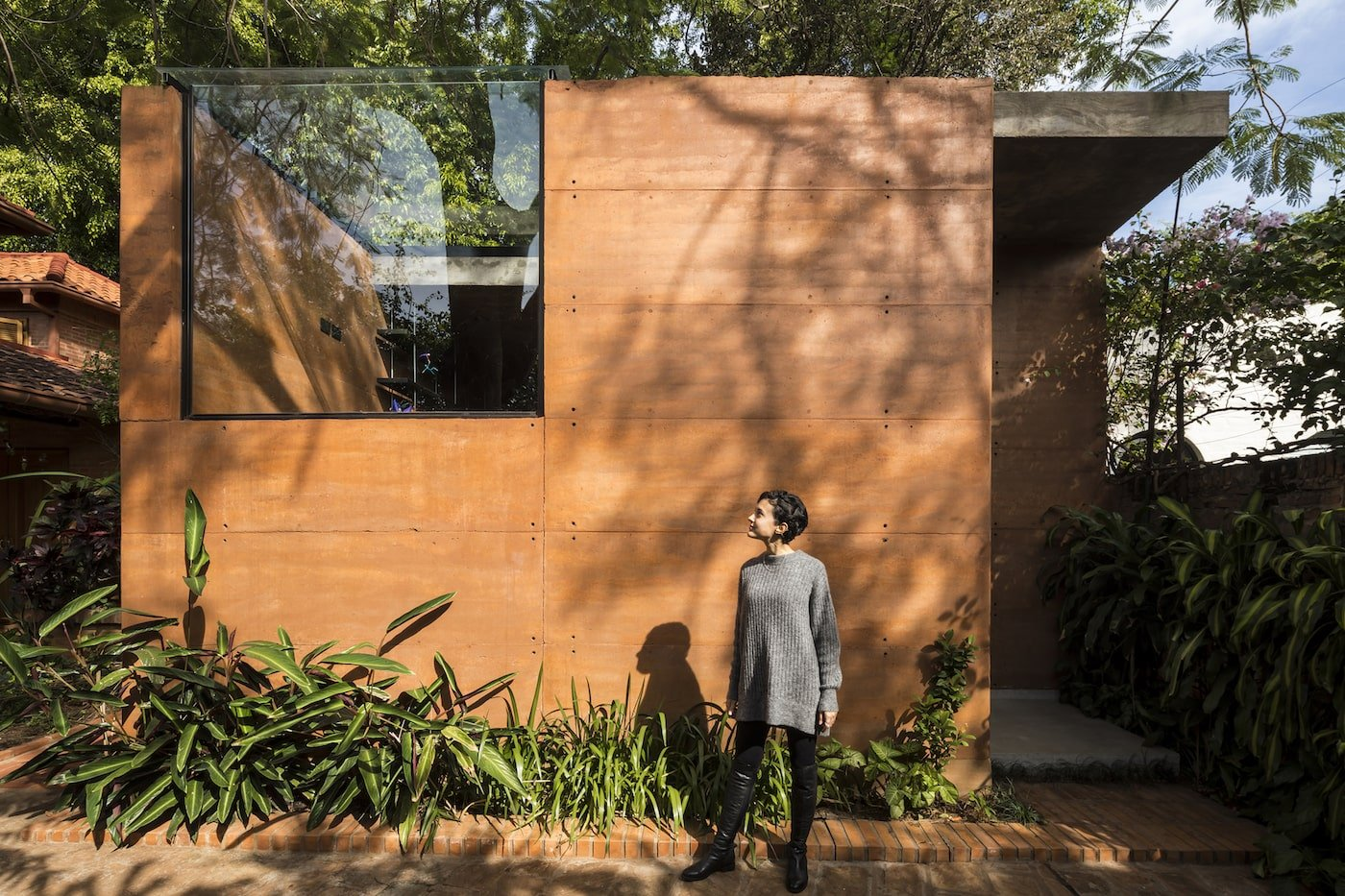 Rammed earth sustainable office building