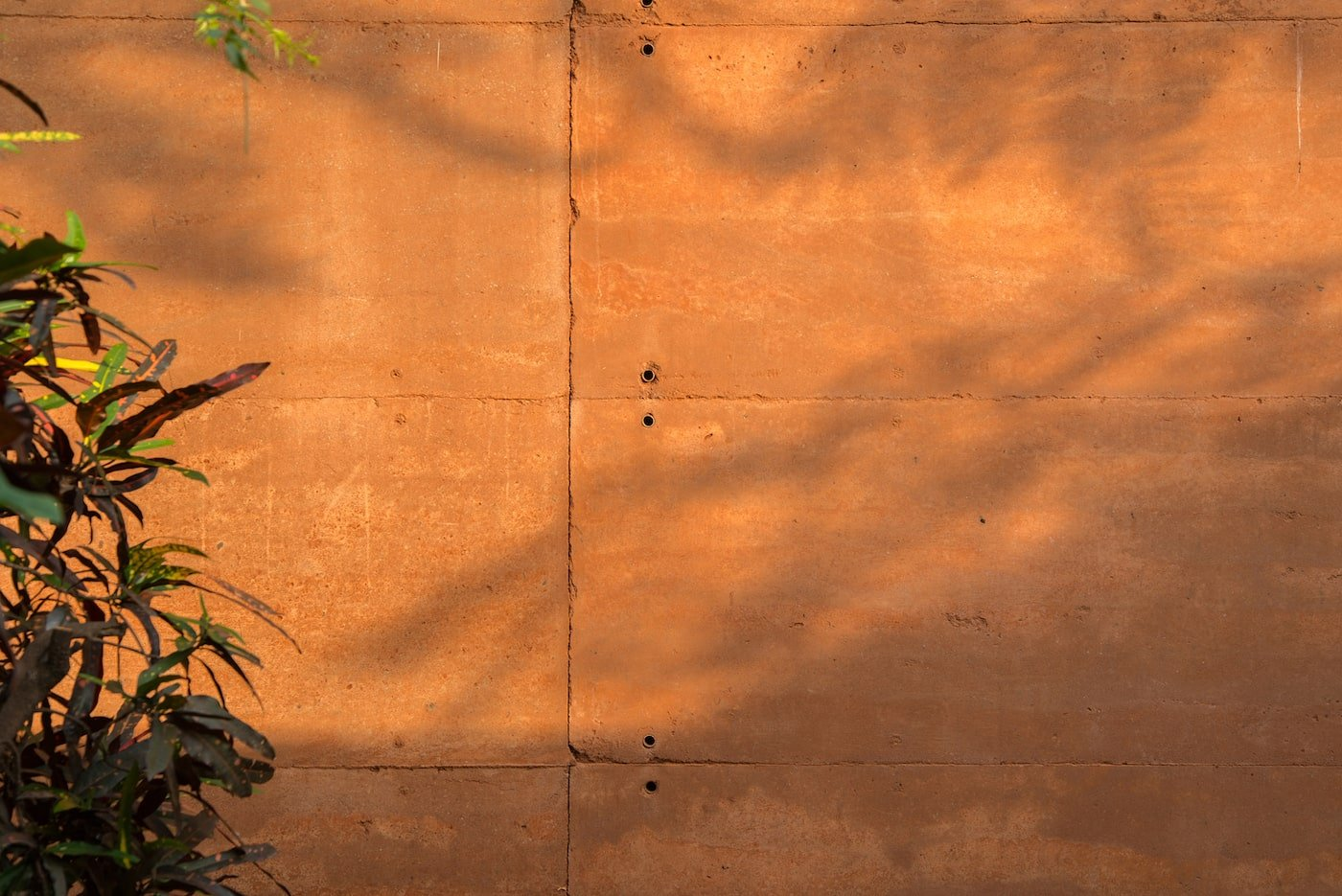 Close up of rammed earth wall