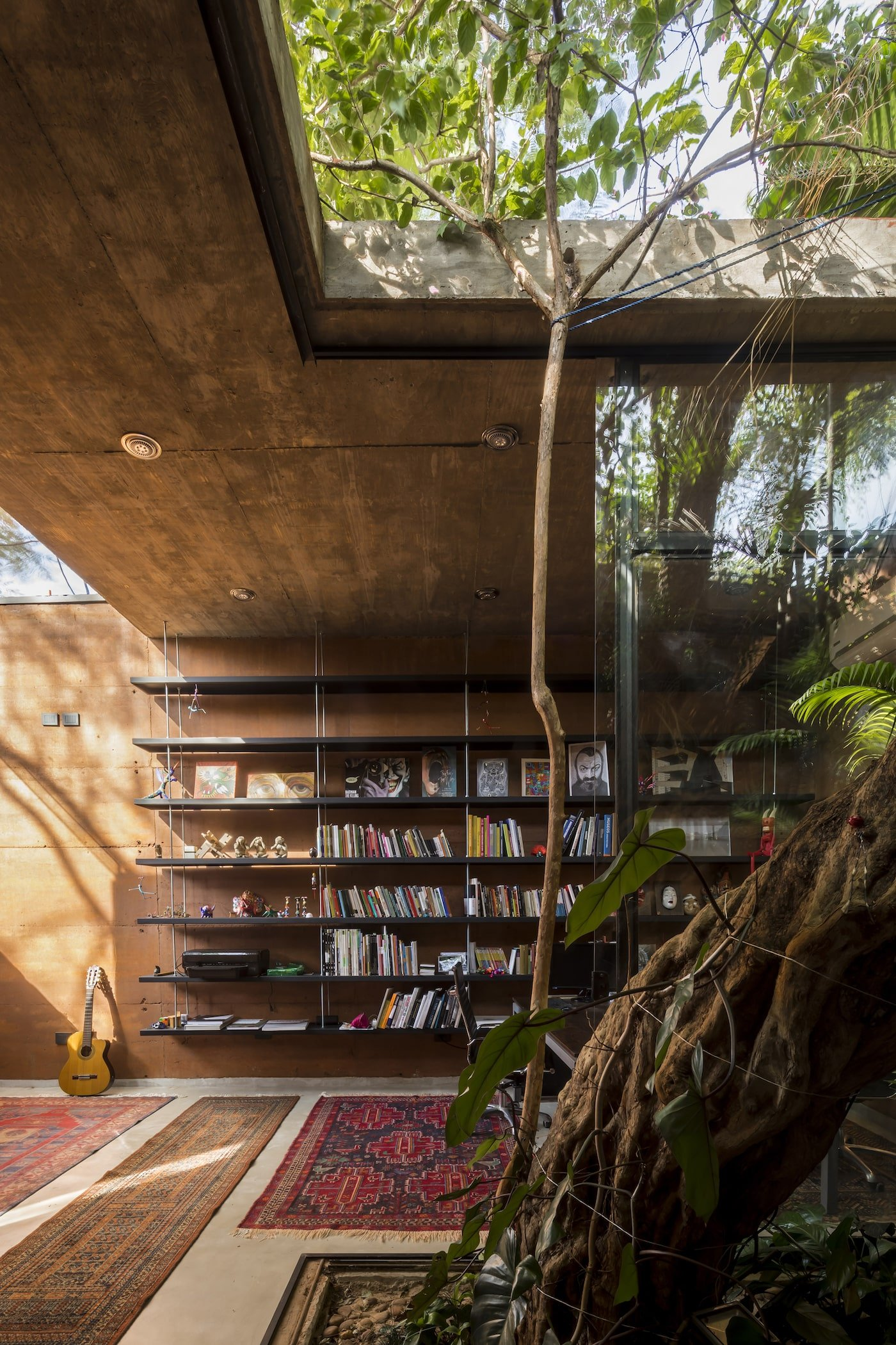 Rammed earth building with tree in light well