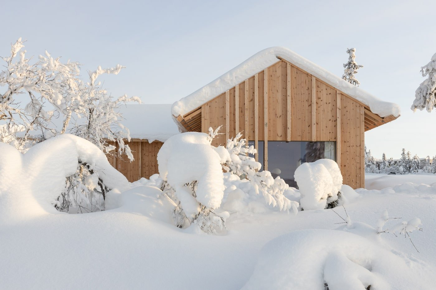 Close up of timber battening on all timber Kvitfjell Cabin
