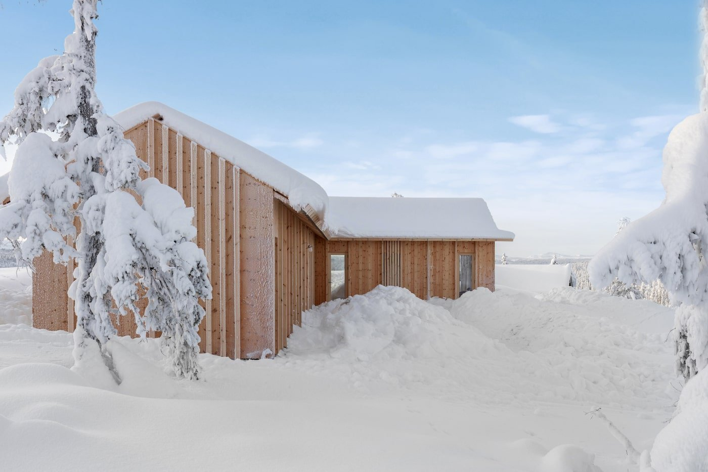 External timber cladding and timber battens on all timber Kvitfjell Cabin