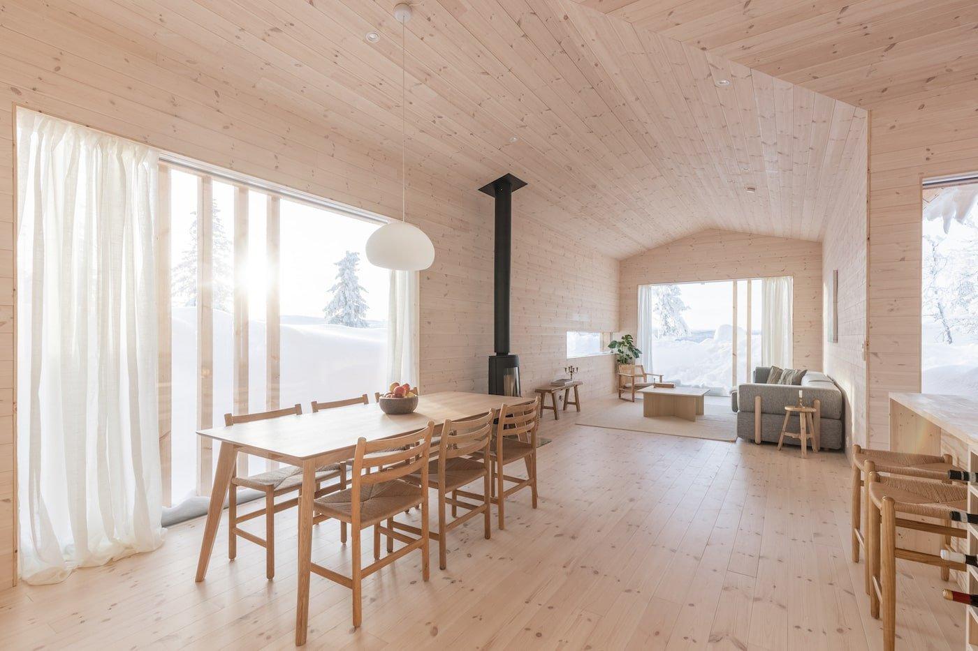 Interior of all timber Kvitfjell Cabin