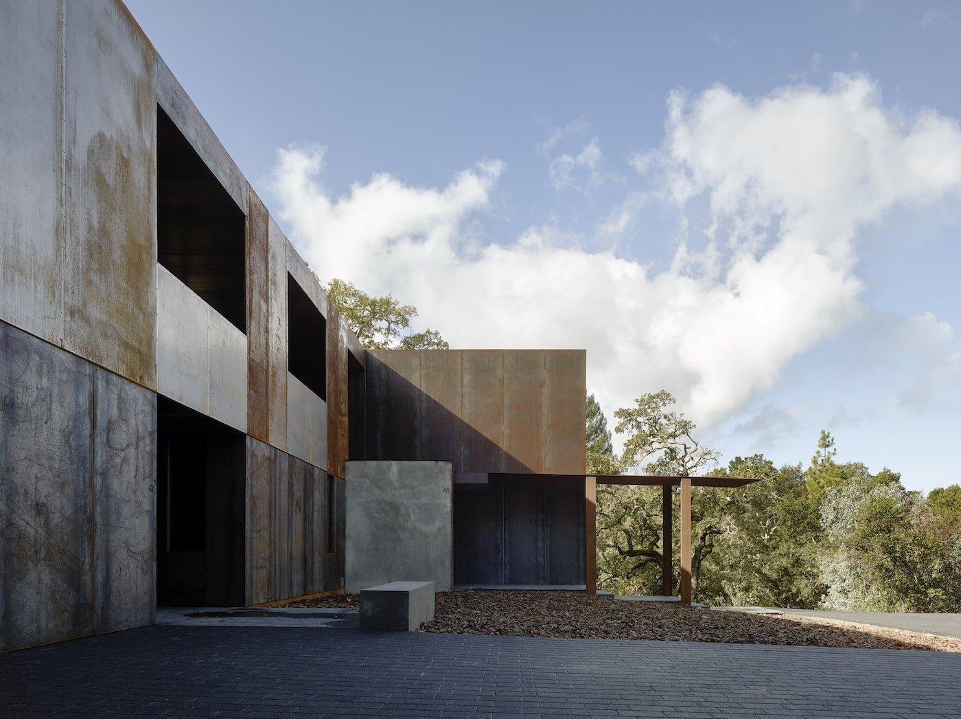 Veranda of corten steel clad net-zero home