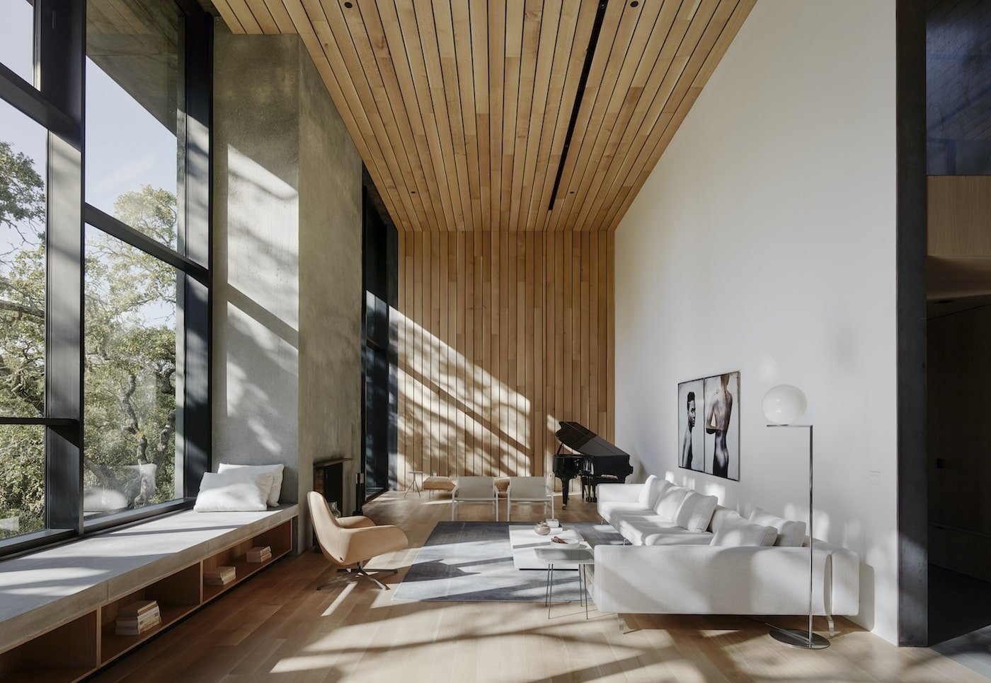 Timber flooring and timber lined ceiling in net-zero home