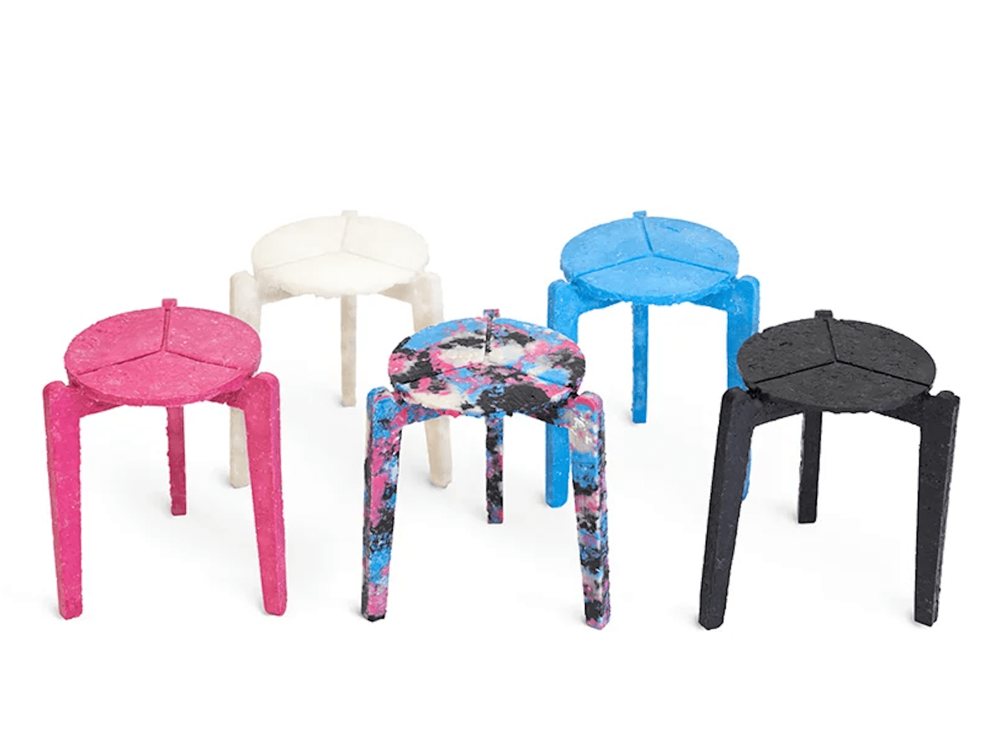 Colour range of stools made from recycled surgical masks