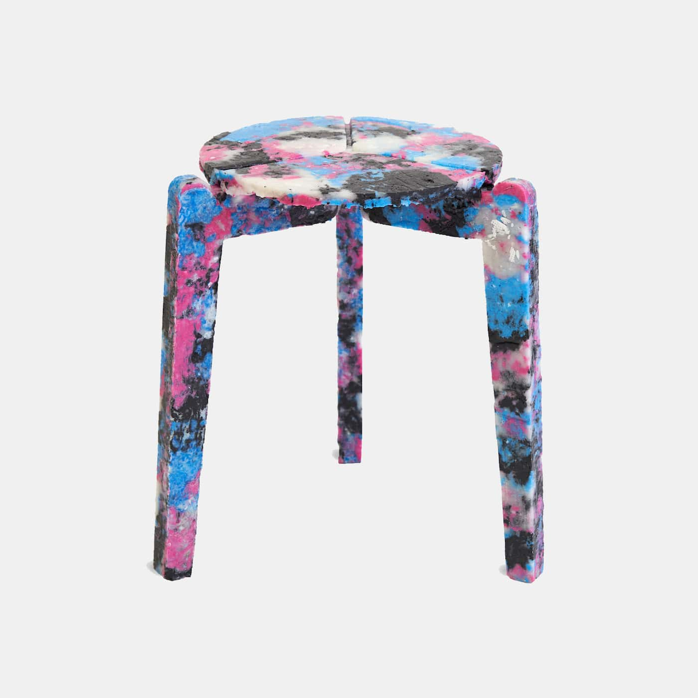Multi-coloured stool made from recycled melted face masks