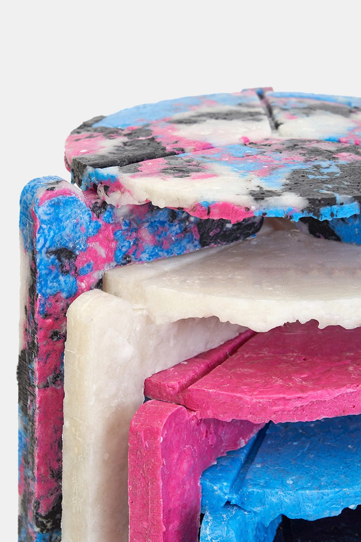 Colourful stools made from face masks
