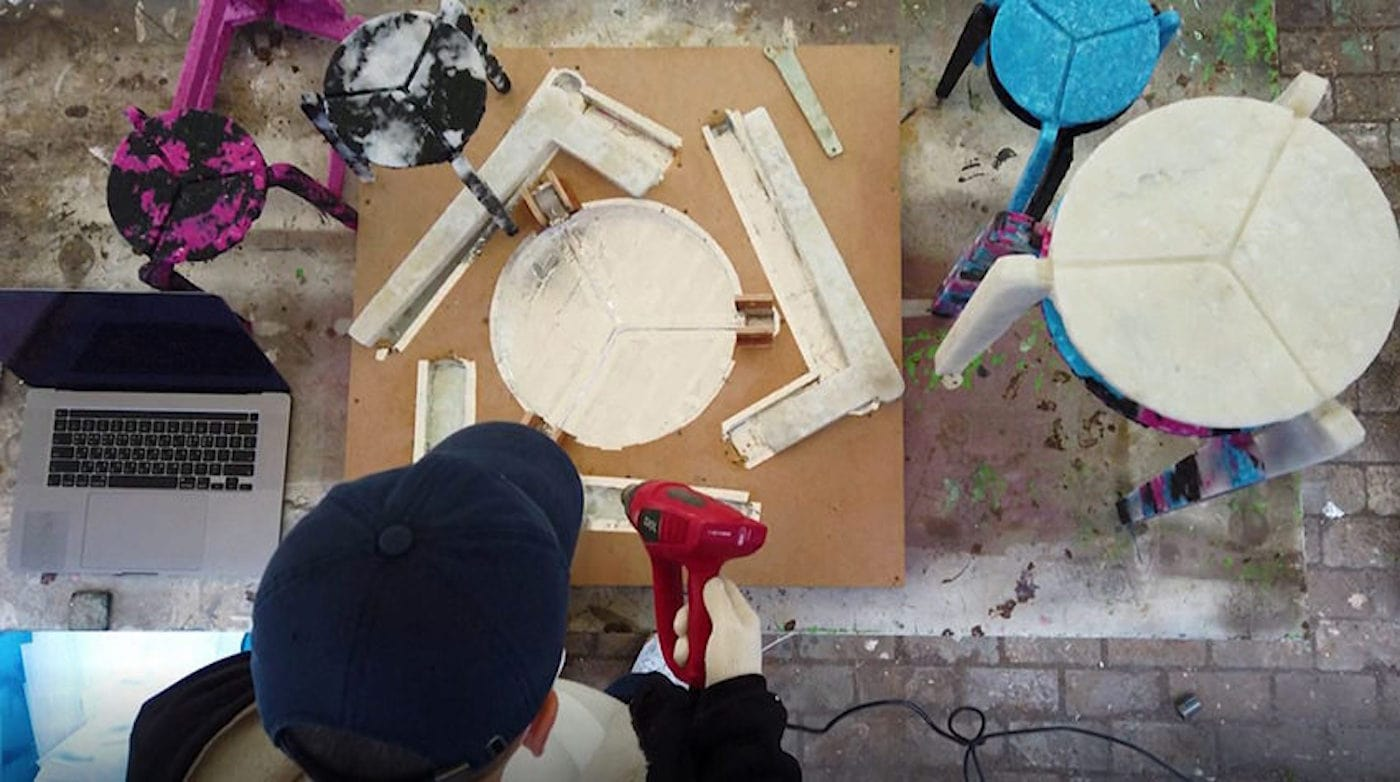 Heat gun used to melt face masks for stool