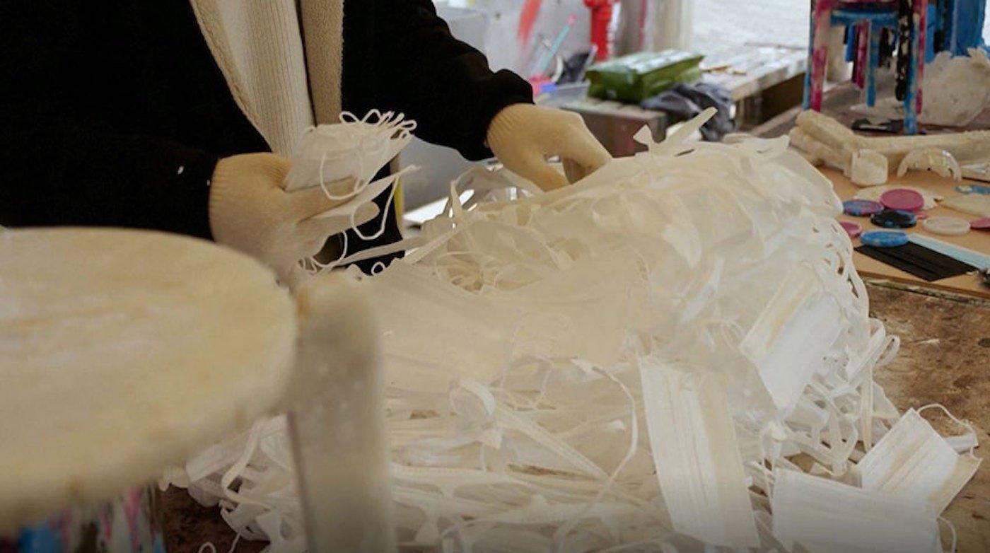 Processing face masks to make into stools
