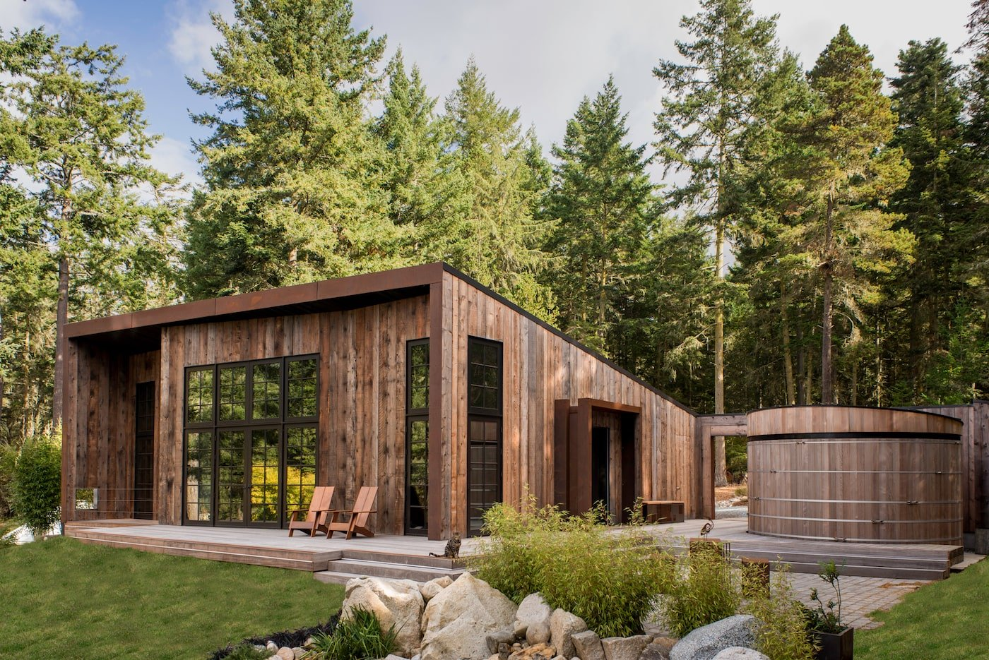 Sustainable timber cabin with water tank