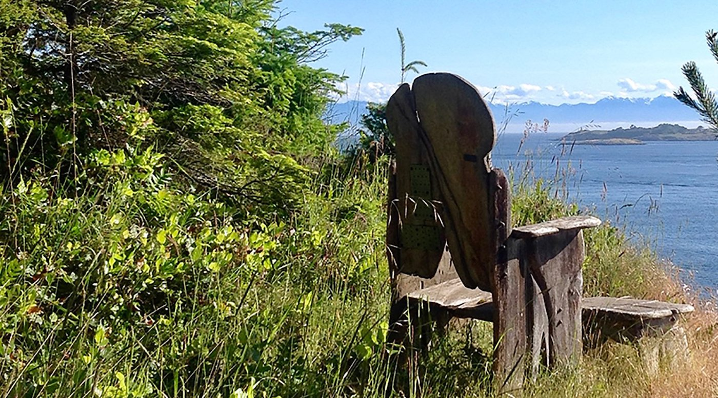 Wooden chair overlooking ocean view
