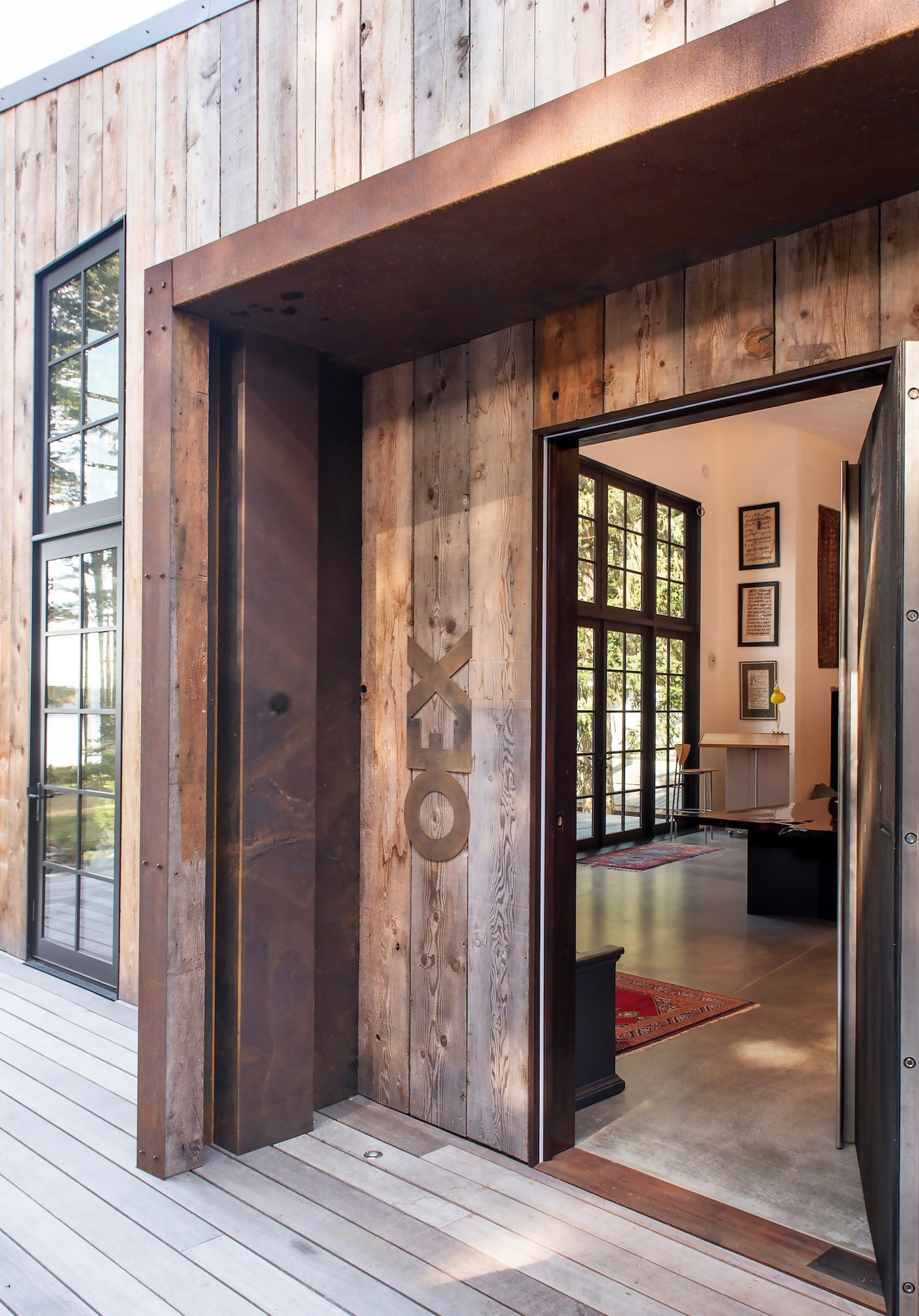 Entrance to timber clad eco cabin